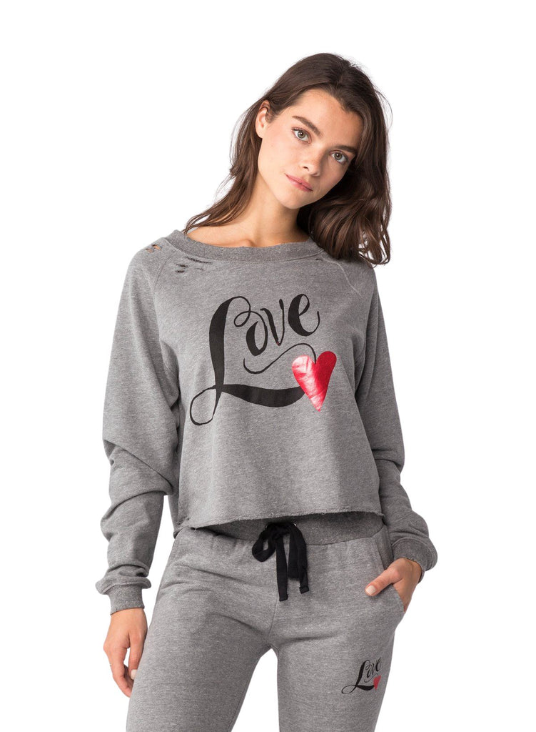 CHRLDR Love Heart Crop Boatneck Sweatshirt- Heather Grey - Styleartist