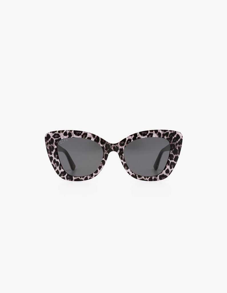 Diff Eyewear Raven Cat Eye Sunglasses- White leopard + Grey Lens - Styleartist
