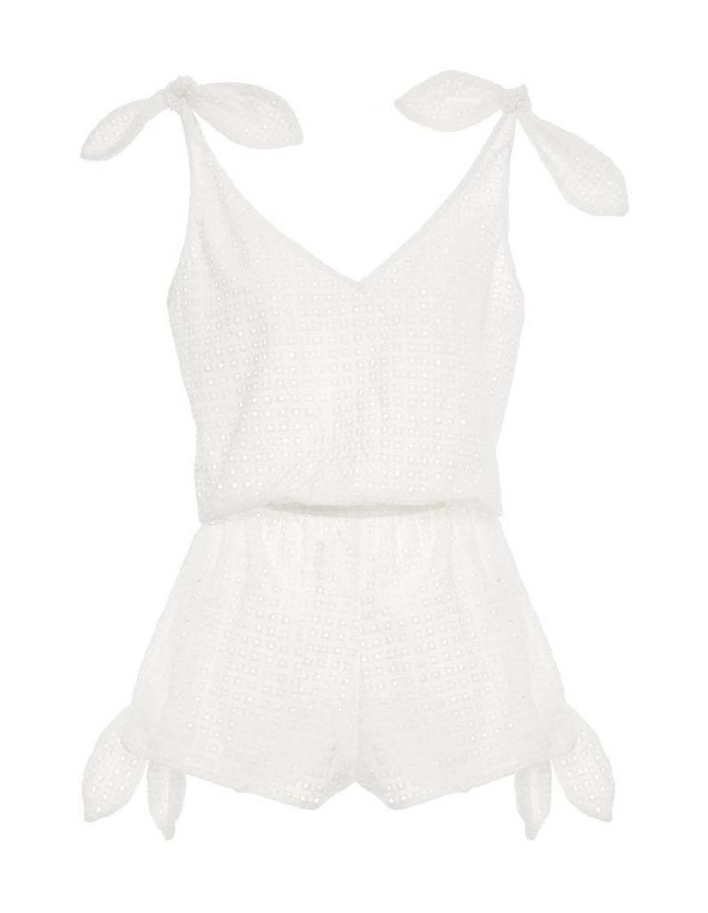 Eberjey Portola Danya Romper Style Cover Up- Cloud White - Styleartist