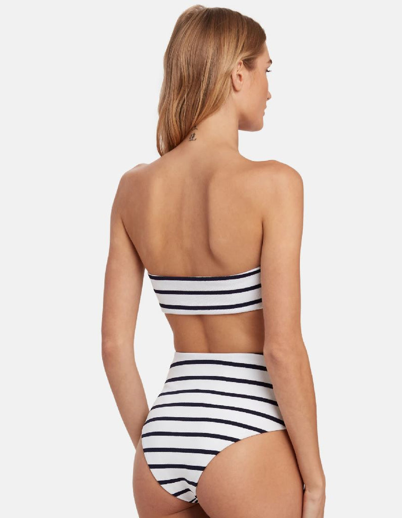 Eberjey Retro Stripes Summer Bikini Bandeau Top - Peacoat/White - Styleartist
