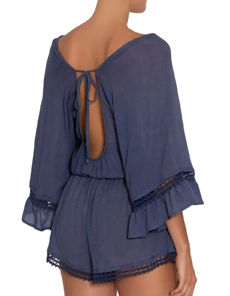 Eberjey Summer Of Love Rosalie Short Romper - Blue Indigo - Styleartist