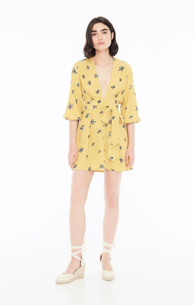 Faithfull The Brand Margot Dress - Dolores Floral Print Yellow - Styleartist