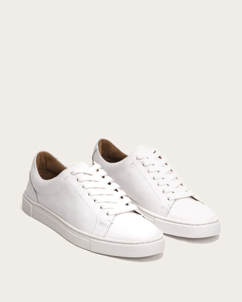 Frye Ivy Low Lace Leather Sneaker- White - Styleartist