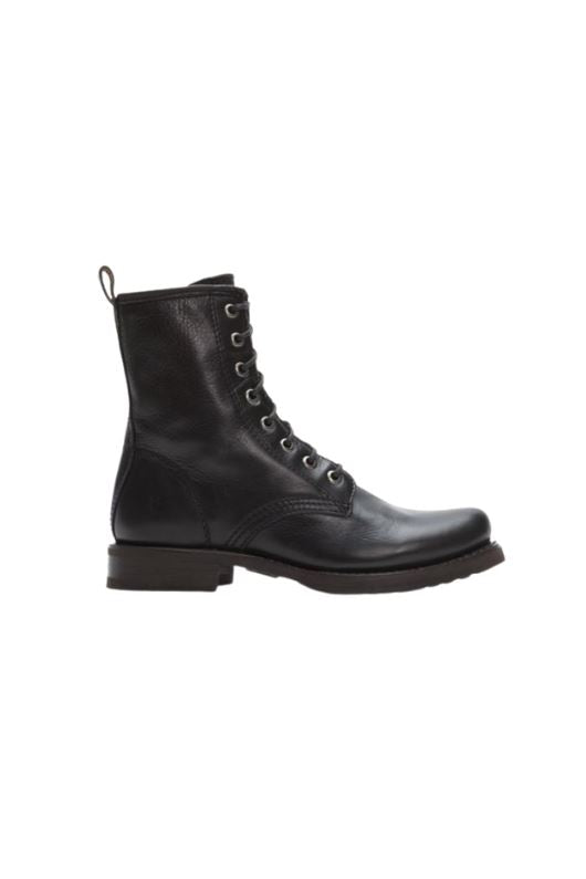 Frye Veronica Combat Boot - Black Soft Vintage Leather - Styleartist