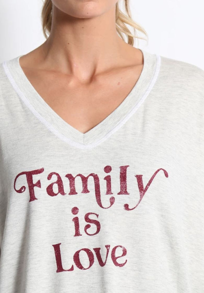 "Good Hyouman Carrie ""Family Is Love"" V Neck Sweater- Natural - Styleartist"