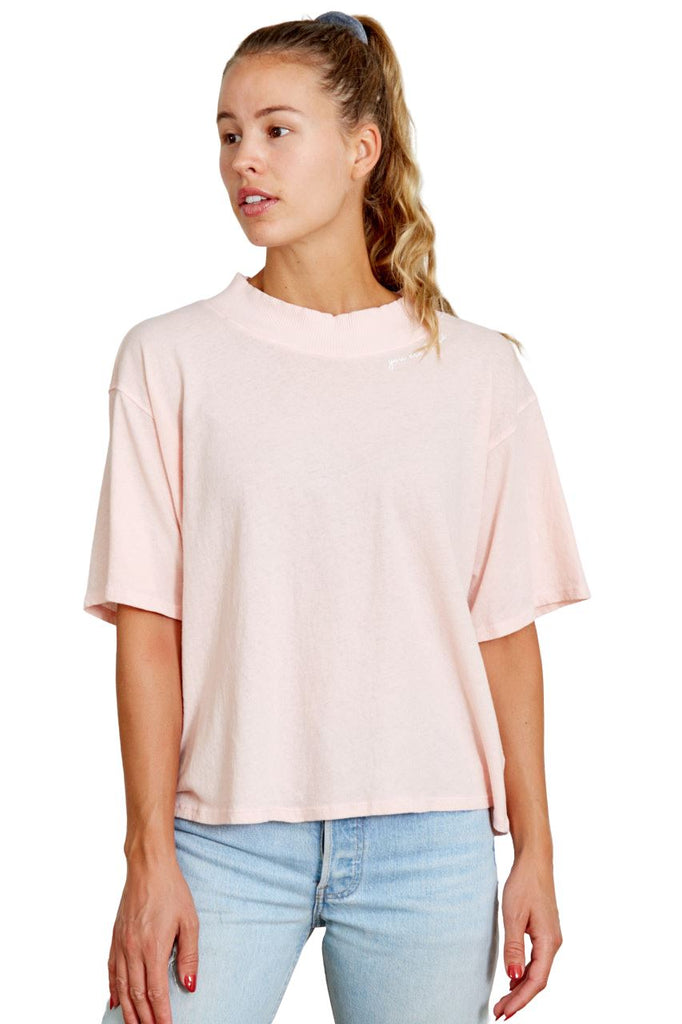 Good Hyouman Charlotte Mock Neck Tee- You Are Loved- Cloud Pink - Styleartist