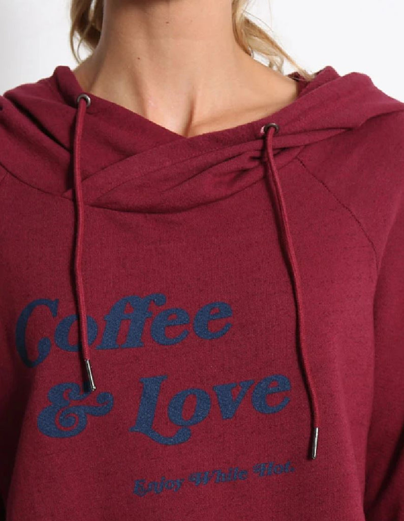 "Good Hyouman Dominic ""Coffee & Love"" Hoodie - Cranberry - Styleartist"