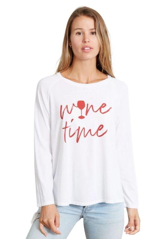 Good Hyouman The Maxie Wine Time Long Sleeve Tee - White - Styleartist