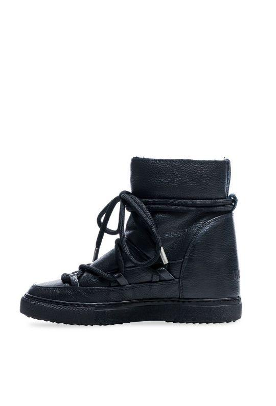 Inuikii Full Leather wedge Sneaker Boot - Black - Styleartist
