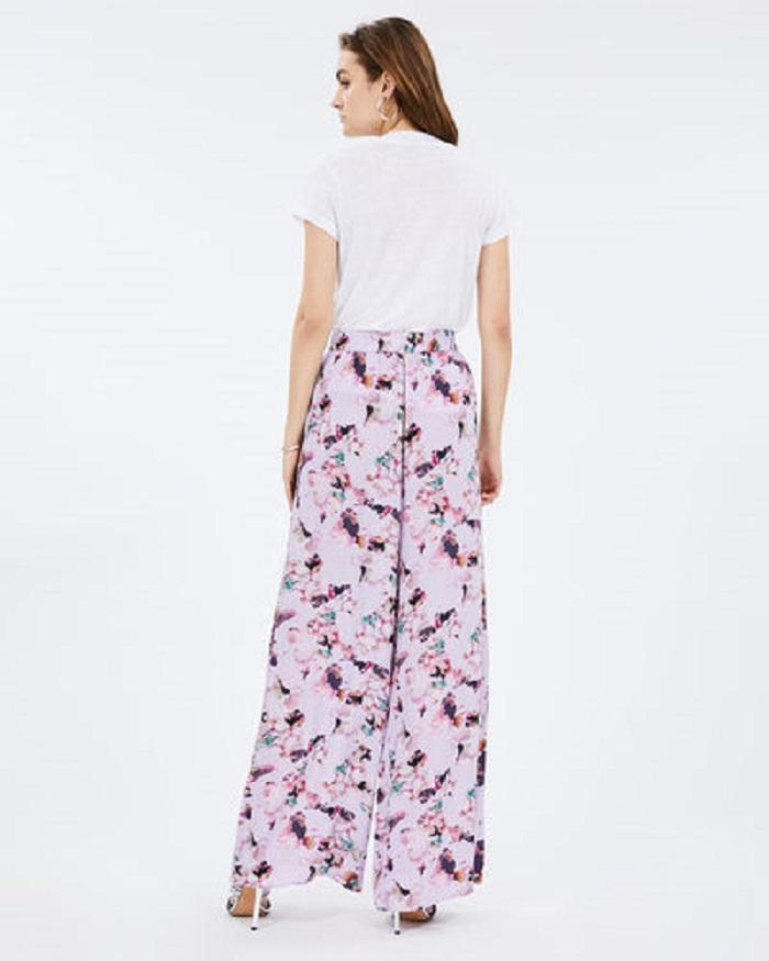 Iro Paris Tany Wide Leg Floral Print Pants - Light Purple - Styleartist