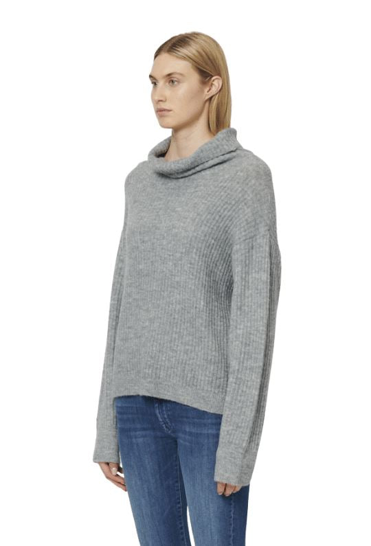 John & Jenn Jerome Turtle Neck Knit Sweater - Heather Grey - Styleartist
