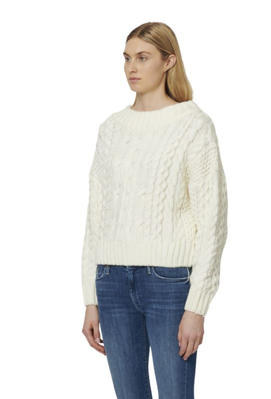 John & Jenn Jono Scoop Neck Cable Knit Sweater - Bone - Styleartist