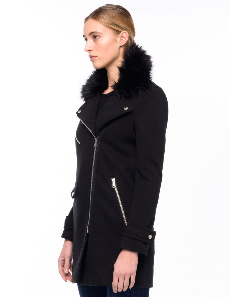 John & Jenn Moto Jacket with Removeable Fur Collar - Black - Styleartist