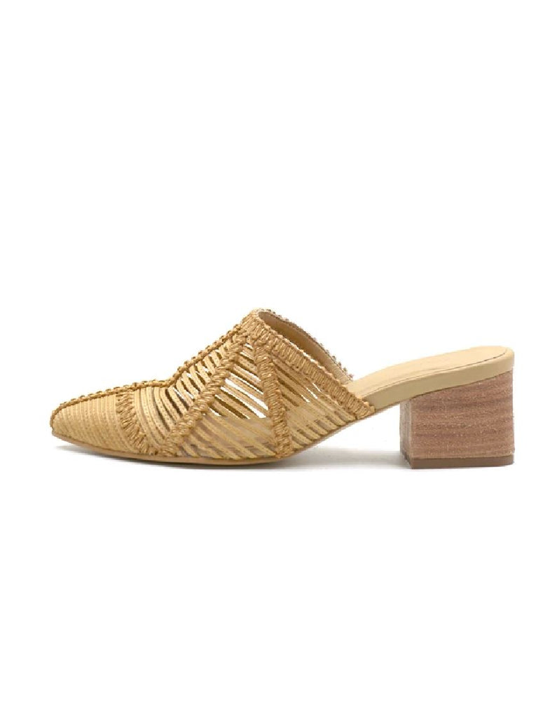 Kaanas Madagascar Basketweave Pointy Toe Mule - Sand - Styleartist
