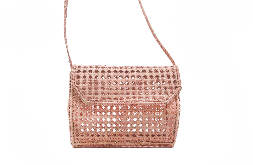 Kaanas Palmira Handwoven Wicker Straw Bag- Blush - Styleartist