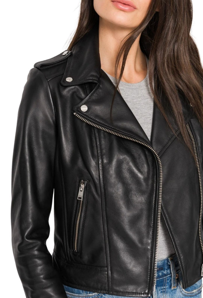 La Marque Donna Signature Leather Biker Jacket - Styleartist