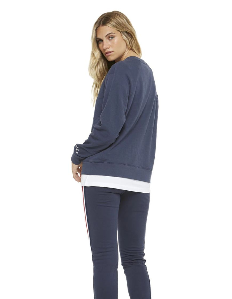 Lazypants Casey Boyfriend Crew Sweater - Navy - Styleartist