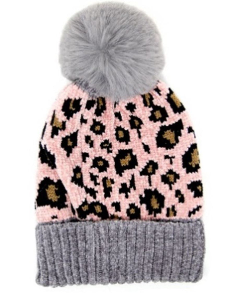 Leopard Toque with Pom Pom- Grey/Pink - Styleartist