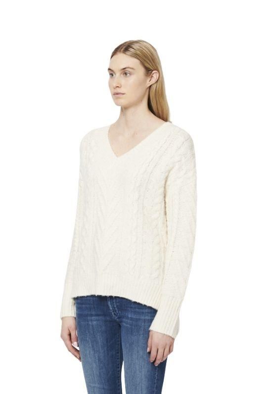 Line Florence Cable Knit V Neck Sweater - Snowfall - Styleartist