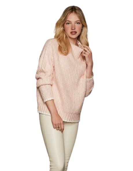 Line Larsa Mock Neck Cable Knit Sweater - Rosewater Pink - Styleartist
