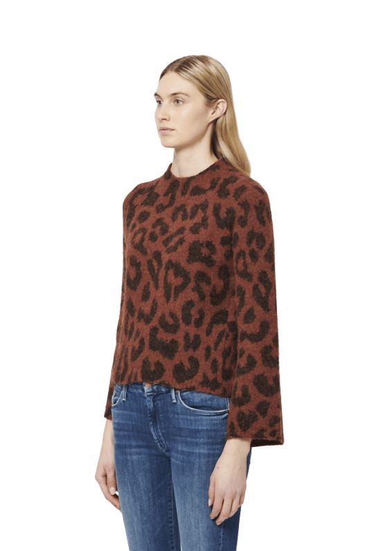 Line Lisane Knit Mock Neck Sweater - Spotted Brick - Styleartist
