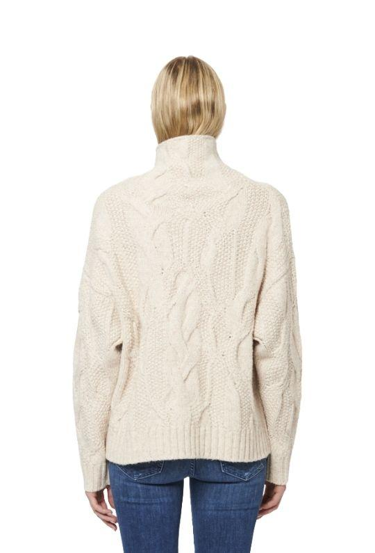 Line Nissa Knit Mock Neck Sweater - Ecru - Styleartist