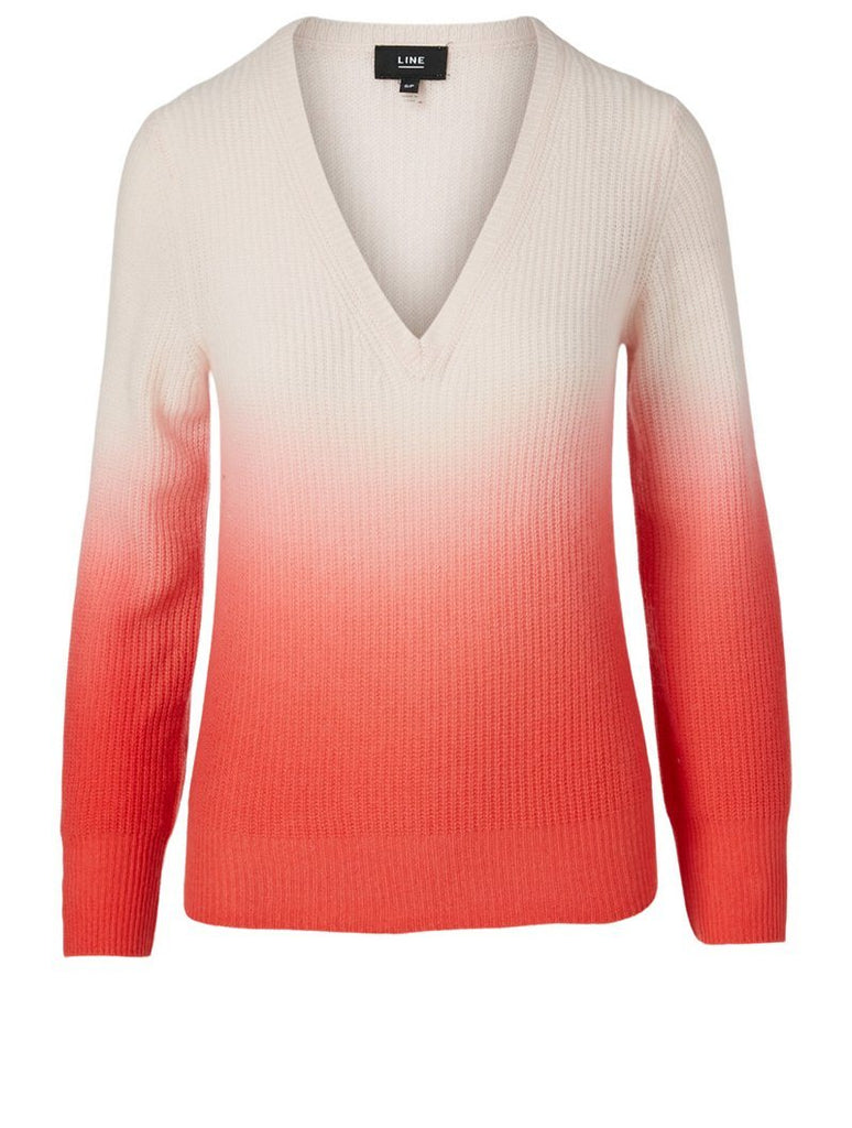 Line Oliana Ombre Cashmere V-Neck Sweater- Pink Sand - Styleartist