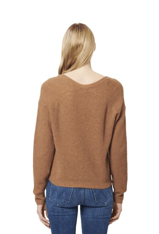 Line Rose Knit V Neck Cashmere Sweater - Cumin - Styleartist