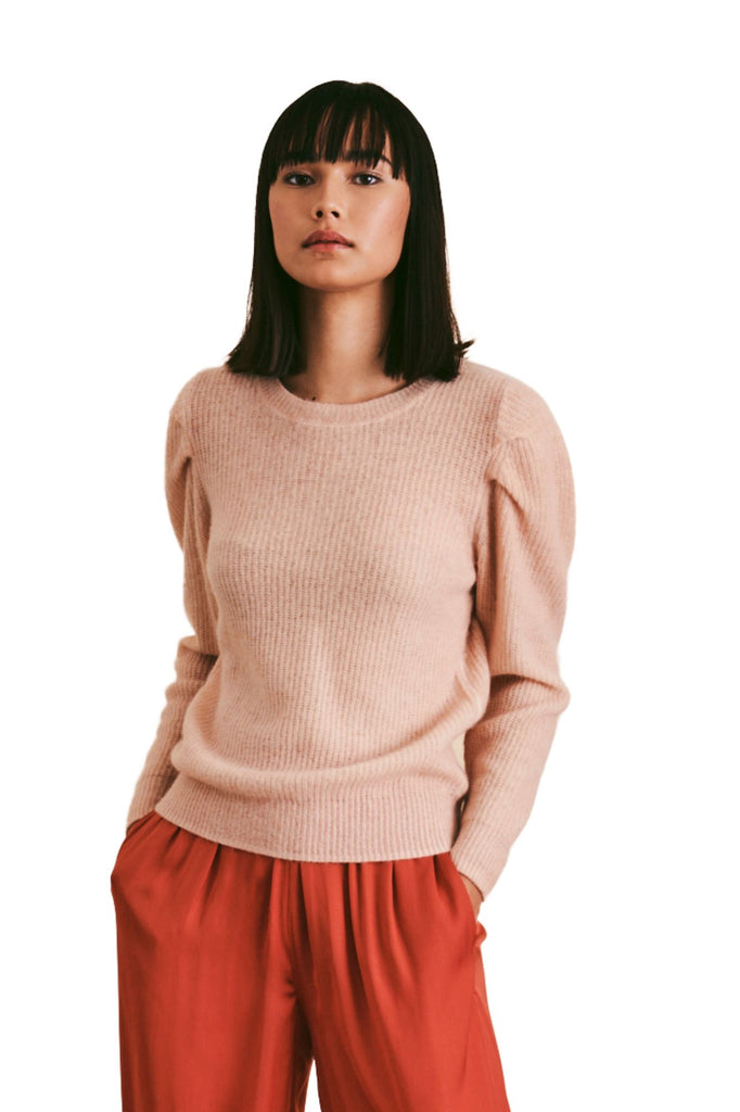 Line Talia Puff Sleeve Cashmere Sweater- Bellini - Styleartist