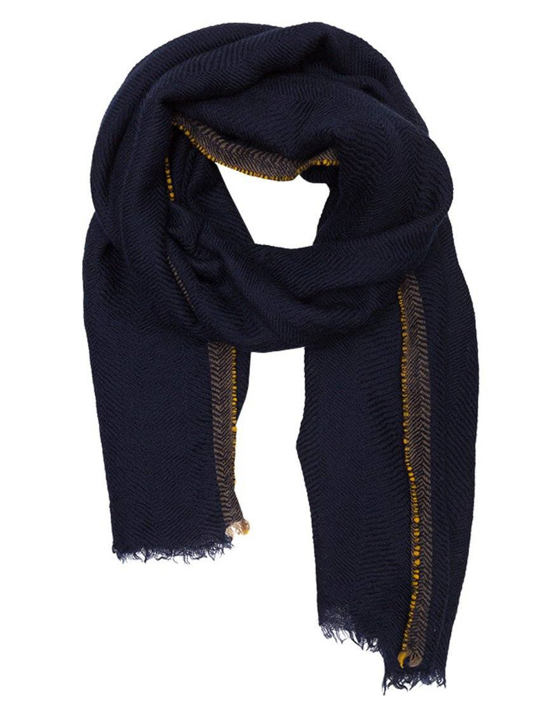 Lovat & Green Divino Navy Wool Scarf - Styleartist