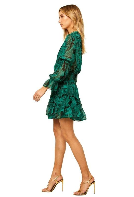 Misa Ella Long Sleeve Mini Chiffon Dress - Printed Green - Styleartist