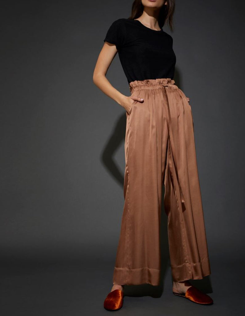 Nation Canal Street Luxe Sateen Paperbag Pant - Toffee - Styleartist