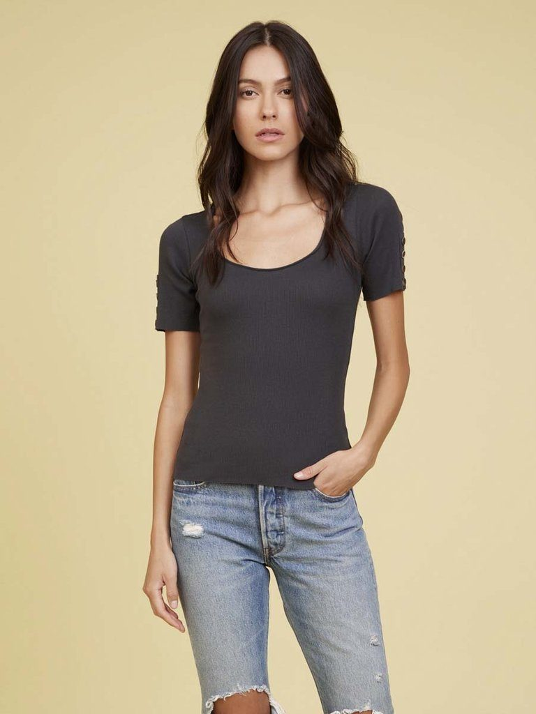 Nation Eris Button Sleeve Sweetheart Tee - Washed Black - Styleartist