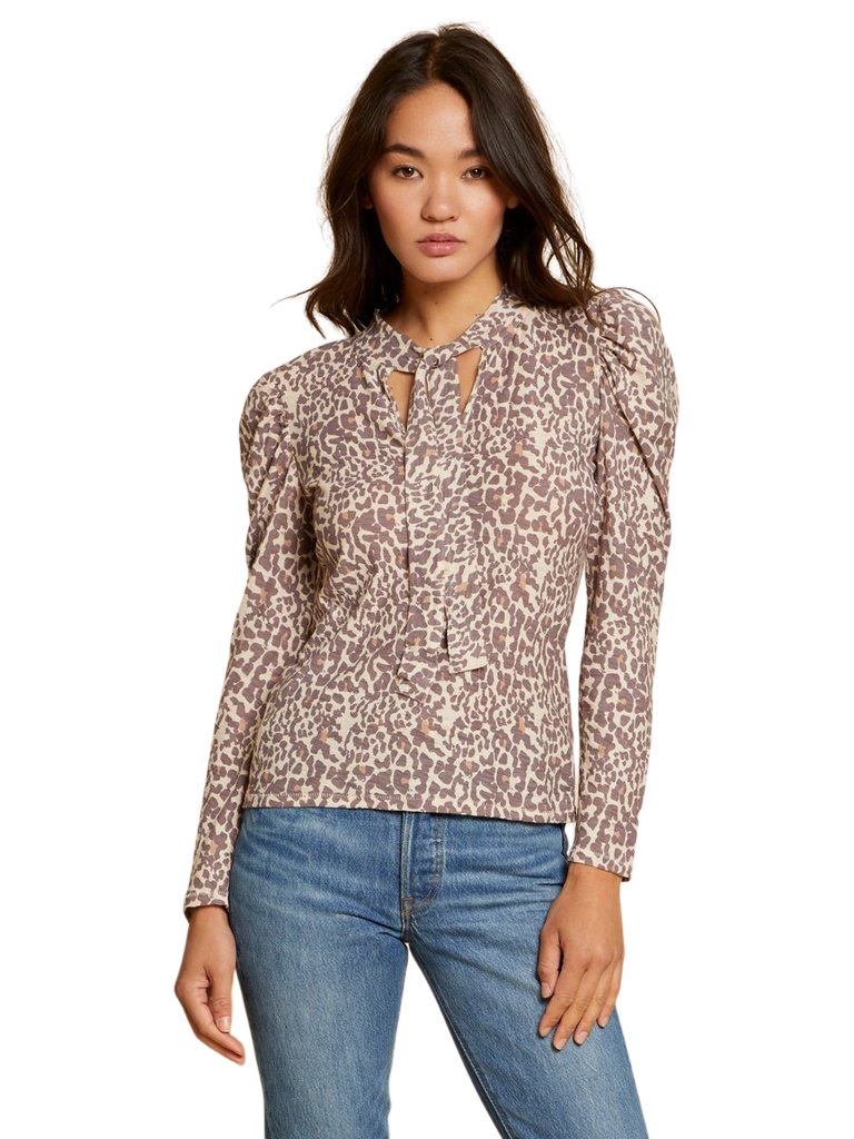 Nation Evette Long Sleeve Tee with Necktie- Antique Leopard Print - Styleartist