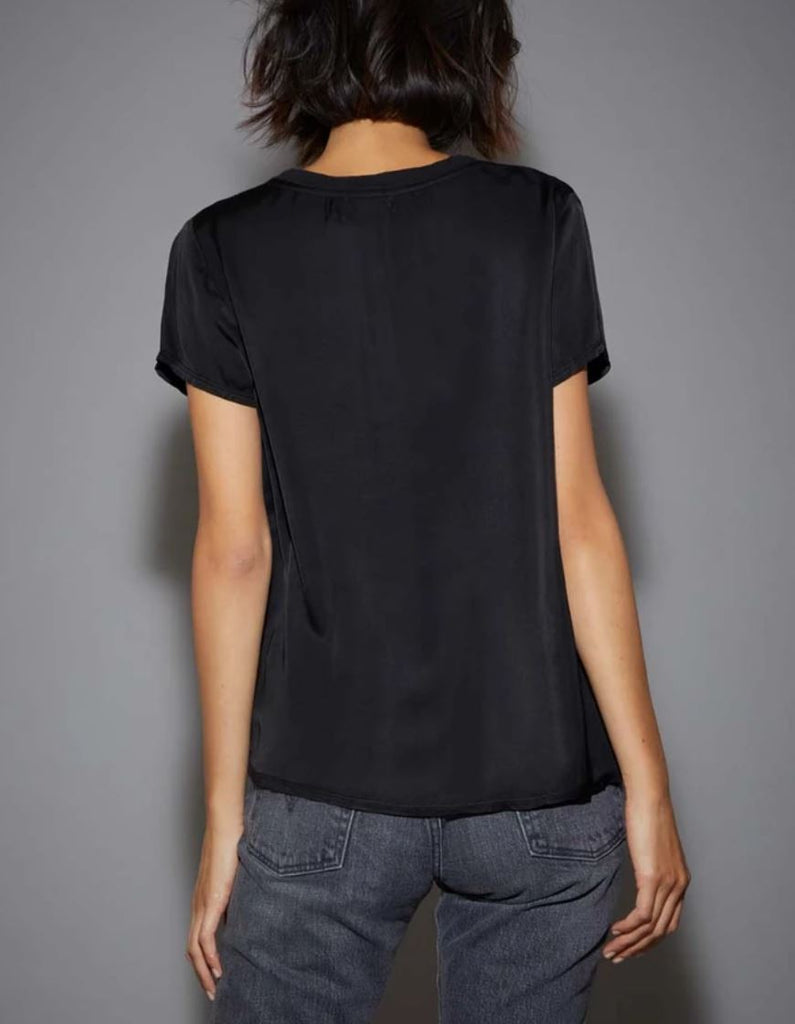 Nation June Sateen V-Neck Tee - Black - Styleartist