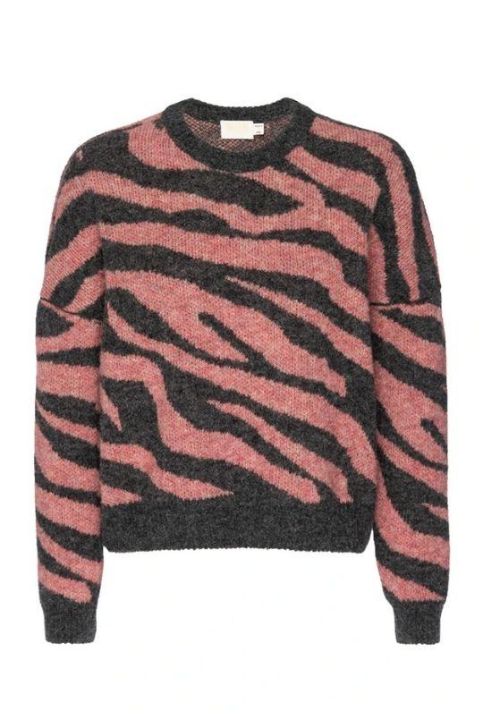 Nation Lizzy Zebra Jacquard Crew Neck Sweater - French Pink Zebra - Styleartist