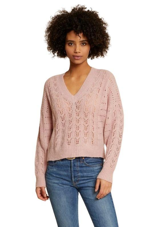 Nation Mika Pointelle Slouchy V Sweater - Cheeky Pink - Styleartist
