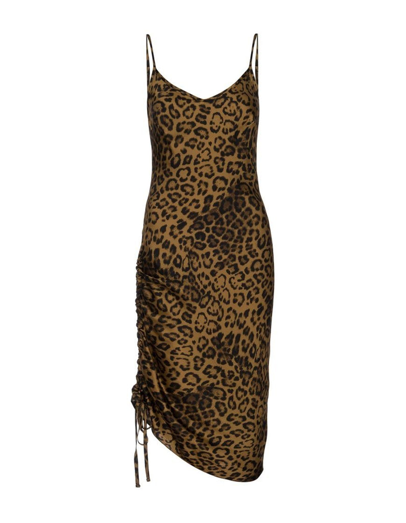 Nation Mira Bias Slip Dress With Drawstring - Jaguar - Styleartist