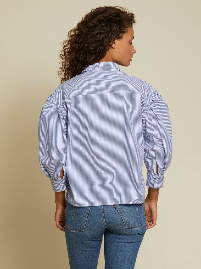 Nation Odessa Balloon Sleeve Button Down Blouse- Banker Stripe - Styleartist