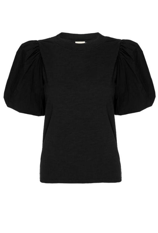 Nation Stacey Tee With Bubble Hem Sleeves - Jet Black - Styleartist