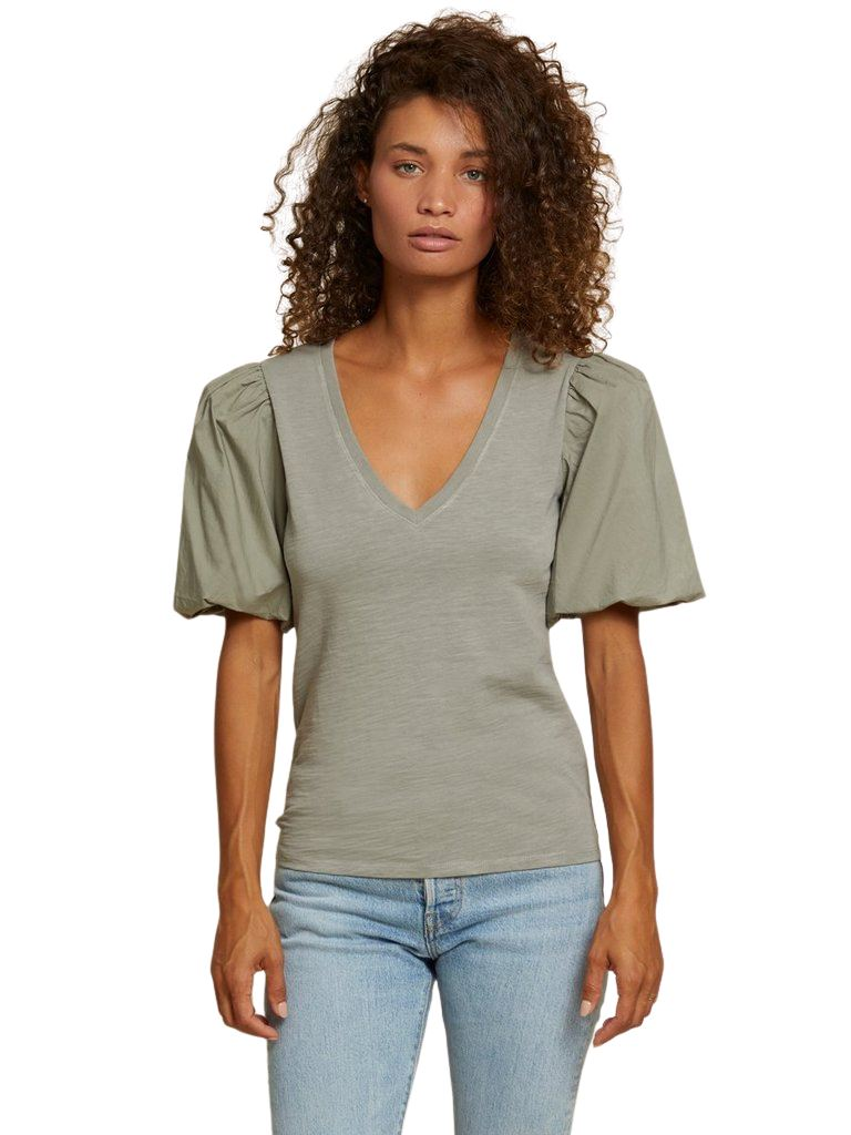 Nation Traci Bubble Sleeve V-Neck Tee- Vintage Army - Styleartist