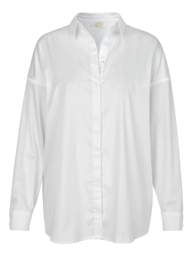 Notes Du Nord Kira Drop Shoulder Poplin Shirt - White - Styleartist