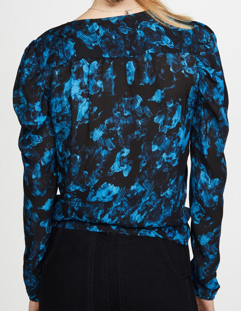 Parker Arya Long Sleeve Tie Floral Blouse - Rainstorm - Styleartist