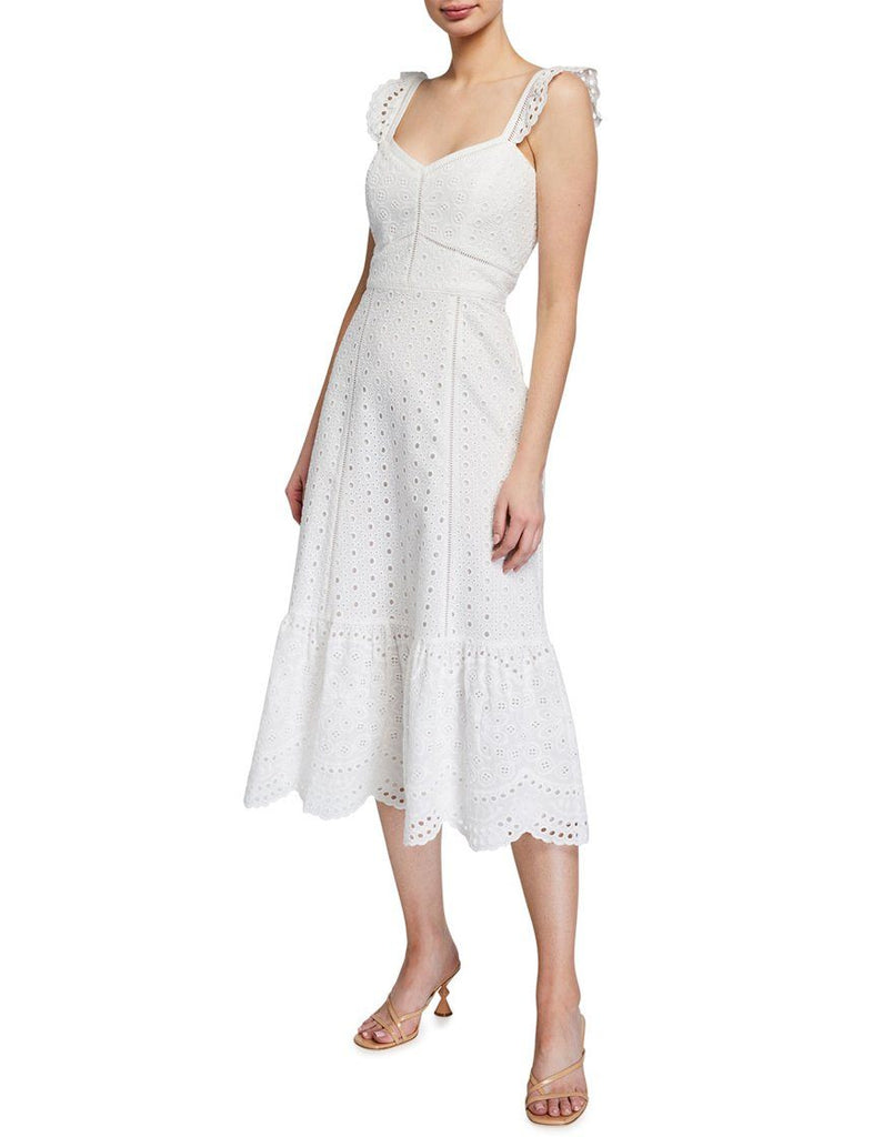 Parker Genevieve Long Eyelet Dress - Ivory - Styleartist