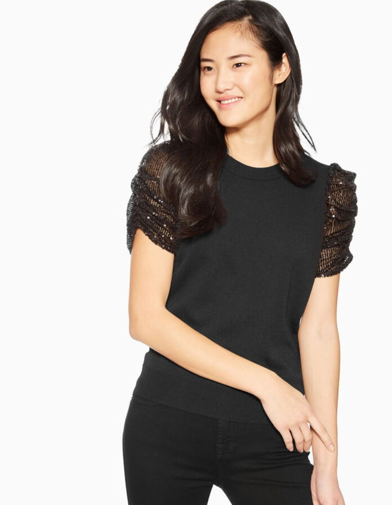 Parker Tash Knit Top with Sequin Sleeve Detail - Black - Styleartist