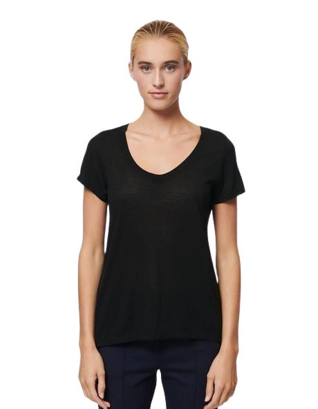 Patrick Assaraf Classic Modal V Neck Tee - Black - Styleartist