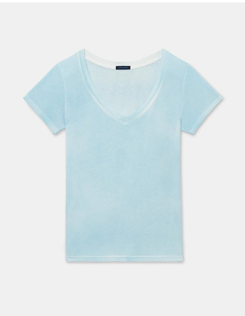Patrick Assaraf Classic Pima Cotton Spray Wash V Neck Tee - Alaska - Styleartist