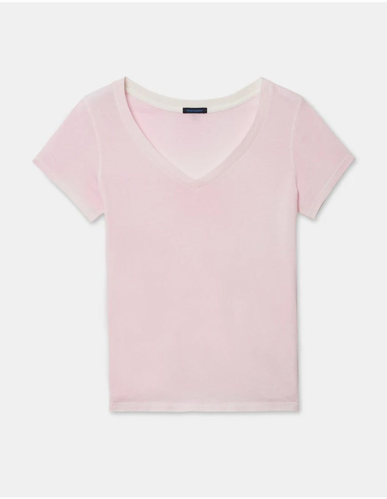 Patrick Assaraf Classic Pima Cotton Spray Wash V Neck Tee - Blush - Styleartist