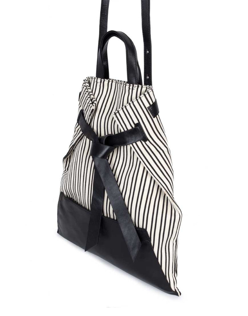 Philo Knotty Convertible Tote Striped Ivory Canvas - Styleartist
