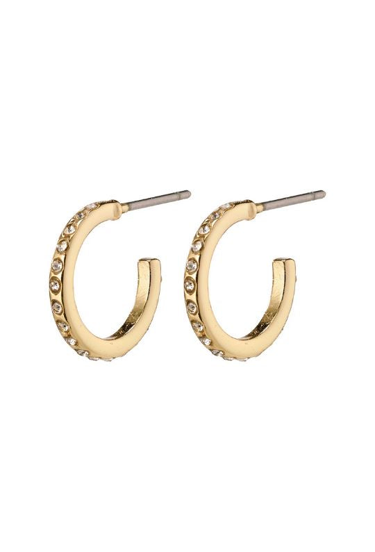 Pilgrim Roberta Crystal Small Hoop Earrings - Gold Plated - Styleartist